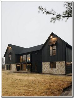45 Perfect Metal Buildings Design Ideas for Stylish and Modern Design - Modern barn house - Metal Barn Homes, Metal Building Homes, Building Design, Building A House, Black Building, Pole Barn Homes, Black House Exterior, Exterior House Colors, Exterior Design