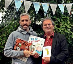 Our wonderful Irish sales rep, Conor Hackett, displaying our Walker Éireann titles with pride at the Mountains to Sea festival alongside the translator of ALL the books, Gabriel Rosenstock. Irish Language, Book Authors, Books, Baby Owls, Gabriel, Illustrators, Pride, Told You So, Sea
