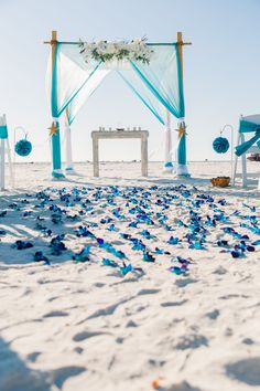 Summer rustic beach wedding arch, decoration, blue and turquoise colors, blue bom orchid aisle, destination wedding reception ceremony ideas on a budget wedding aisle Beach Wedding Reception, Beach Ceremony, Wedding Ceremony, Reception Ideas, Wedding Sparklers, Wedding Gowns, Beach Wedding Colors, Ceremony Signs, Wedding Arches