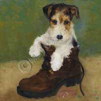 I suppose the need to maul shoes is in their genes somehow. The wire haired shoe terrier & great lover. (Fine Art Print MB073 Wire Fox Terrier)