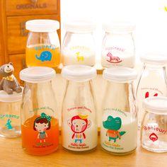 Poly-cute ♥ Korea super cute little animal glass milk bottles of yogurt pudding mold with lid jar