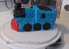 Simple Thomas the Train Birthday Cake... This website is the Pinterest of birthday cake ideas