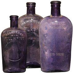 Susan Wheeler Home - set of 3 purple bottles