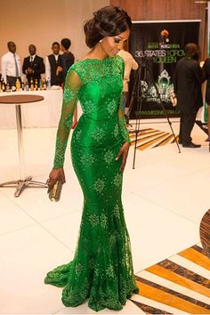 Green Trumpet/Mermaid High Neck Long Sleeves Applique Floor-length Evening Dress PRICE: £89.99