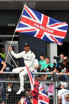 2017 British GP winner Lewis Hamilton, celebrates with the fans.