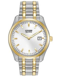 Citizen Eco-Drive Mens Date Watch - Two-Tone - White Dial - Bracelet