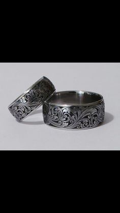 Custom Hand Engraved Wedding Rings and Wide Bands in Gold, Platinum, Palladium, Damascus and Titanium - Featuring Firearm Inspired Engraving Styles with Gold Inlays and Gemstones. Engraved Wedding Rings, Wedding Band Engraving, Engraved Jewelry, Gun Jewelry, Sea Glass Jewelry, Jewelery, Metal Engraving, Just In Case, Wedding Bands