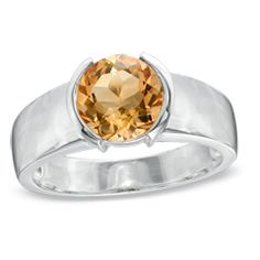7.0mm Citrine Half-Bezel Set Ring in Sterling Silver - View All Jewelry - Gordon's Jewelers $65.00