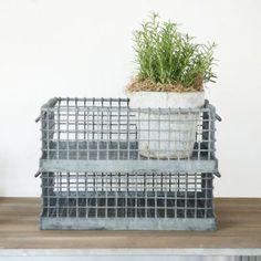 Antique Zinc Wire Basket $78.00