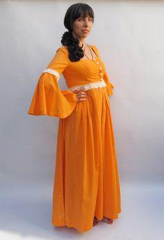 tangerine peasant dress