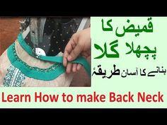 Perfect back neck cutting & stitching | Kameez ka back gala kese banaye - YouTube Frock Fashion, Stitching, Make It Yourself, Learning, Youtube, Dress, Costura, Dresses, Studying