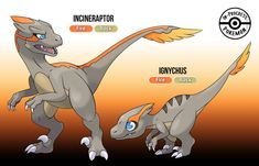 These velociraptor and deinonychus based fossil Fakemon were commissioned by adarmarcus. Fossil Fakemon - Ignychus and Incineraptor Solgaleo Pokemon, Pokemon Show, Pokemon Alpha, Pokemon Rayquaza, Fossil Pokemon, Pokemon Fusion Art, Pokemon Memes, Pokemon Fan Art, Charizard