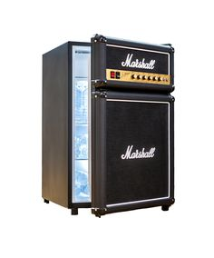 The Marshall Fridge, made to look exactly like the famous amp, right down to the brass faceplate - perfect for any man cave :: $400 at marshallfridge.com