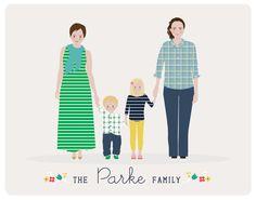 personalized portrait Custom Family by HenryJamesPaperGoods