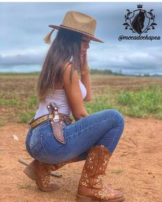 Image may contain: 1 person, shoes, hat and outdoor Country Girl Outfits, Sexy Cowgirl Outfits, Cute Country Girl, Looks Country, Country Women, Cowgirl Clothing, Cowgirl Fashion, Cowgirl Jewelry, Bohemian Jewelry
