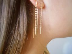 Gold Threader Earrings Gold Chain Earrings Simple by annikabella