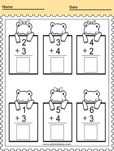 Free Printable Kindergarten Math Worksheets - Practice Adding and Counting  #KindergartenMathWorksheets Practice Adding Math Worksheet for Kindergarten #worksheets #printableworksheets #kids #education #kindergarten #worksheetsforkindergarten #freeprintableworksheets