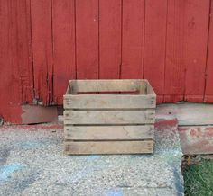 Vintage Old Wooden Orchard Crate Primitive,No Markings,Rustic Wood,Apple Slotted Crate by Incredibletreasures on Etsy