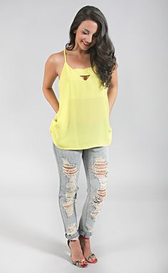 first crush cut out tank top - lime yellow | ShopRiffraff.com