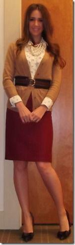 work attire | pearls, belt, cardi, red pencil skirt {sequins & stilettos}