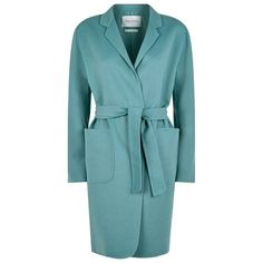 MaxMara Ciro Belted Coat (103.910 RUB) ❤ liked on Polyvore featuring outerwear, coats, car-coat, blue coat, maxmara coat, belted coat and lapel coat