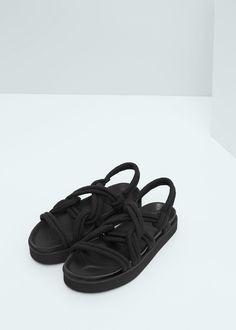 Sandale mit schnürbändern - Schuhe für Damen   MANGO