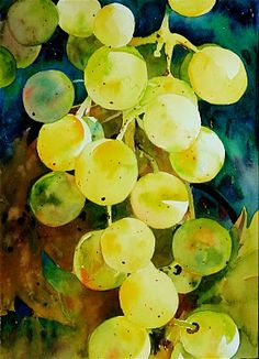 """David Lobenberg: How green are my grapes? Succulent, juicy grapes created with watercolor washes, both """"loose"""" and """"tight"""" techniques, according to the artist. Watercolor Fruit, Watercolor Tips, Watercolour Tutorials, Watercolor Techniques, Watercolor Flowers, Watercolor Paintings, Art Techniques, Watercolours, Abstract Paintings"""