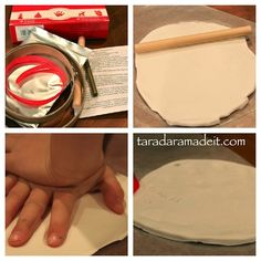 Make the easiest handprint ornament in the world!!!  @Child to Cherish Marshmallow Clay is so simple. No baking! #handprintornament
