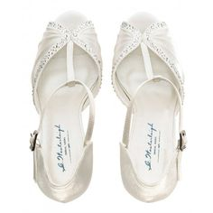 Tiffany by Westerleigh Ivory or White Vintage T-Bar Wedding or Occassion Shoes