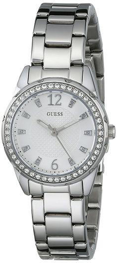 GUESS Women's U0445L1 Silver-Tone Bracelet Watch *** Click image for more details.