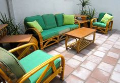 Vintage Rattan with Barkcloth Cushions, my mom had this exact set with different fabric, I would give anything to have it now!