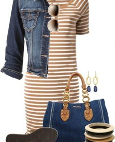 Michael Kors Brown Striped Tshirt Dress Outfit