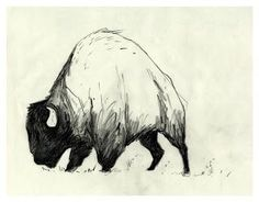 Thinking about the foot for this one Cute Animal Drawings, Art Drawings, Business Illustration, Illustration Art, Bison Tattoo, Buffalo Tattoo, Train Tattoo, Art Pictures, Art Projects