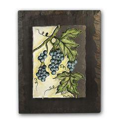 """Grape/ виноград . Paintings on rustic wood / Картины на Лавовом Камне."