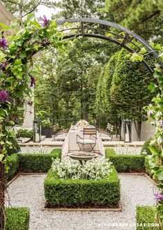Collins Home Grown - My New Orleans awesome 70 Cool Ideas For Garden Fountains Design You Should Try 20 Ideas backyard garden pergola climbing roses for 2019 Parterre in a formal garden by Howard Design Studio. Formal Gardens, Outdoor Gardens, Courtyard Gardens, Modern Gardens, Boxwood Garden, Garden Planters, Gravel Patio, Pergola Patio, Pea Gravel Garden