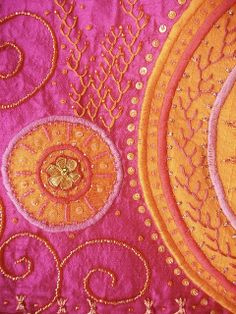 Orange and Pink Embroidery work