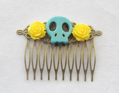 Sugar Skull Hair Comb Turquoise Skull Barrette Gothic Hair Clip Skull Cameo Hair Comb Day of the Dead Hair Comb Sugar Skull Accessories Gift by SmittenKittenKendall on Etsy