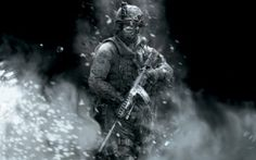 Preview wallpaper call of duty, soldier, gun, smoke, glasses