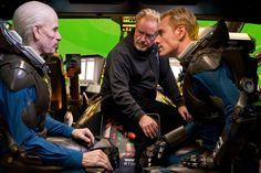 Ridley Scott with Guy Pearce and Michael Fassbender on set Prometheus 2012, Prometheus Movie, David 8, Tony Scott, Guy Pearce, Ridley Scott, Ben Barnes, Michael Fassbender, The Covenant