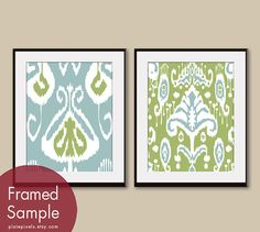 Ikat Patterns (series B) set of 2 - 11x14 Art Prints (Featured in Slate Blue and Basil) Customizable Colors $30