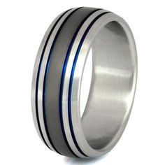 Titanium Wedding Band  Thin Blue Line Ring  by TitaniumRingsStudio