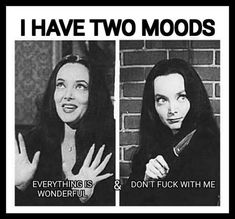 I have two moods Goth Memes, Dark Humour Memes, Really Funny Memes, Funny Relatable Memes, Adams Family Quotes, Sarcastic Quotes, Funny Quotes, Lyric Quotes, Gomez And Morticia