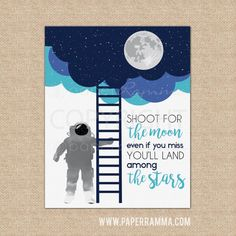 Shoot for the Moon, Moon Nursery, Boy Nursery, Kid Wall Art, Nursery Decor… Space Themed Nursery, Nursery Themes, Room Themes, Nursery Decor, Room Decor, Baby Boy Themes, Baby Boy Rooms, Baby Boy Nurseries, Kids Rooms