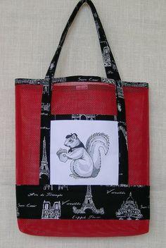 Squirrel vinyl mesh tote bag