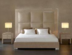 Nella Vetrina offers a selection of the finest designer Italian bedroom furniture. We showcase handmade beds in modern, transitional and traditional styles. Bed Headboard Design, Bedroom Bed Design, Bedroom Furniture Design, Modern Bedroom Design, Headboards For Beds, Bed Furniture, Italian Bedroom Furniture, Luxury Italian Furniture, Master Bedroom Interior