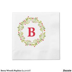 Berry Wreath Napkins Coined Cocktail Napkin
