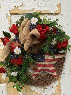 Patriotic Wreath 4th of July Wreath Americana Wreath Spring