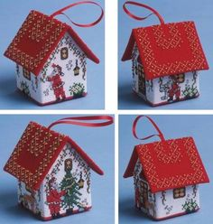 Set Of Four Santa House 3D Cross Stitch Kits - £48.00 on Past Impressions | by The Nutmeg Company