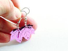 Pink leaf sequin earrings, shiny pink earrings by FfigysDesigns #Etsy #Handmade #Jewelry #Earrings #Pink #TheVerandaTeam
