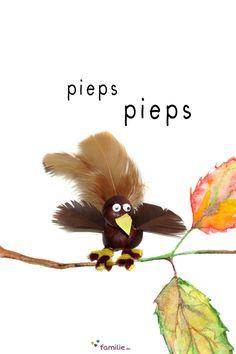 Außer ein paar Federn, einem Pfeifenputzer und einem Stückchen Tonpapier für den Schnabel brauchen Sie kein Material für den putzigen Kastanien-Vogel!